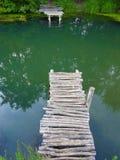 över den trägammala floden för bro Royaltyfria Bilder