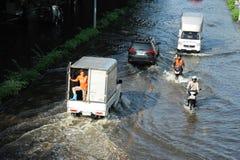 översvämning thailand Arkivbild