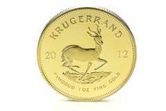 1 ounce gold bullion coin. South African 1 ounce gold bullion coin isolated on white background Stock Photo