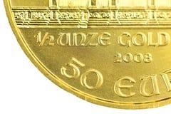 1/2 ounce Gold. Coinage on a golden coin 1/2 ounces gold Stock Photo