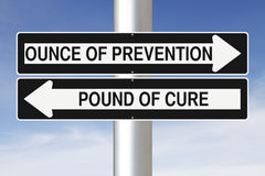Ounce of Prevention. Modified one way signs indicating an idiomatic expression Royalty Free Stock Photography