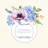Ound frame of watercolor poppies and hydrangea. Royalty Free Stock Images