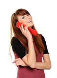 Oung girl talking on mobile phone Stock Images