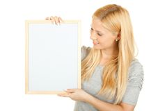 Oung happy woman with blank board Stock Photography