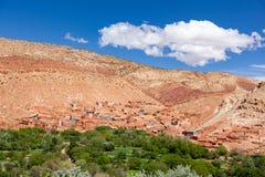 Ounilla dal, Marocko, högt kartboklandskap Arganträd på th Royaltyfria Bilder