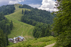 Ountain path between Fir forests leading  from Grabova Chalet Royalty Free Stock Image