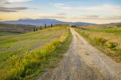 Ountry drogowy prowadzić agriturismo w Tuscany Obrazy Stock