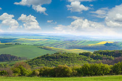 Сountryside  Fields and Blue Sky Landscape Royalty Free Stock Photo