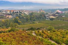 Ountryside town of elciego and autumn vineyards in la rioja, Spain. Countryside town of elciego in la rioja with marques del fiscal winery at background, Spain royalty free stock photo
