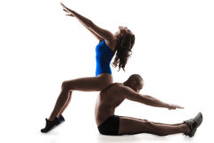 ?ouple che esercita allenamento aerobico Immagine Stock Libera da Diritti