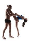 ?ouple che esercita allenamento aerobico Fotografia Stock Libera da Diritti