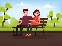 Ouple del ¡de Ð que se sienta en un banco en el parque Esposa embarazada y su HU Ilustración del Vector