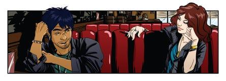 Ouple del ¡ di Ð che si siede e che parla in caffè Fotografia Stock Libera da Diritti