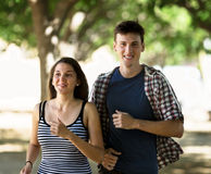 Сouple jogging in morning Stock Image