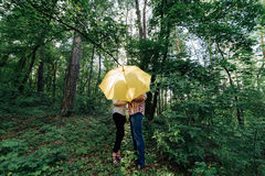 Сouple in love under yellow umbrella in a forest Stock Photos