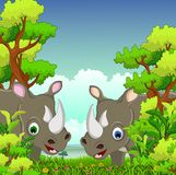 Ouple rhino cartoon with forest background Royalty Free Stock Images