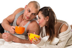 Сouple with tea Royalty Free Stock Photos