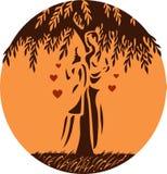 ?ouple y árbol ilustración del vector