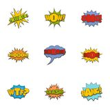 Oups icons set, cartoon style vector illustration