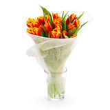 Вouquet of orange tulips. On a white background Stock Photo
