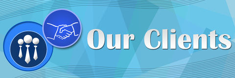 Our Clients Blue Squares Background Stock Photos