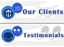 Our Clients Testimonials Banners. Our Clients and Testimonial horizontal banner in blue vector illustration