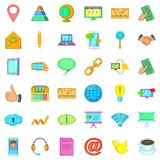 Our contact icons set, cartoon style Royalty Free Stock Photo