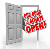 Our Door is Always Open Invitation Welcome Inside. Our Door is Always Open words coming out an open door to invite or welcome you inside an office or store Royalty Free Stock Image