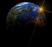 Our earth in cosmos and bright sun. Elements of Royalty Free Stock Photos