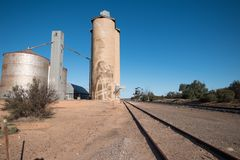 Silo trail artwork in Lascelles royalty free stock photo