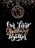 Our first christmas together. Merry Christmas and Happy New Year. Rose gold greeting card. Minimalistic christmas card on navy blue background. Linear Christmas Stock Photography