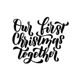 Our first christmas together.Merry Christmas and Happy New Year. Greeting card. Minimalistic christmas card on white background Stock Photos