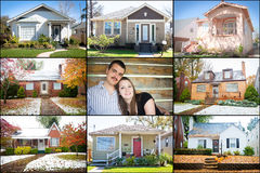 Our First Home Collage. Collage of small starter homes surrounding a young couple Royalty Free Stock Photo