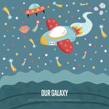 Our Galaxy Conceptual Vector Web Banner. Our galaxy cartoon landing page template. Spaceship flying in outer space with stars, planets, comets, flying saucer Stock Photo