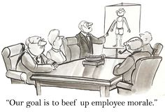 Our goal is to beef up employee morale.  Stock Photo