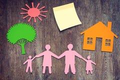 Our happy family concept. Our happy family. Conceptual image stock photography