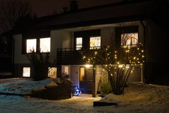 Our home in the winter darkness Royalty Free Stock Photo