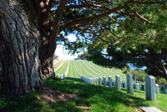 Our Honored Dead. The Rosecrans Military Cemetery, a peaceful rest for our heroes, overlooks the beautiful Pacific Ocean and shaded by blues skies and amazing Royalty Free Stock Photo