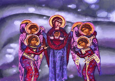Our Lady and angels. Watercolor painting Royalty Free Stock Image