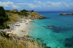 Our Lady Beach (Cies Islands, Galicia). Little beach with white sand and turquoise water on Cíes Islands (Atlantic Islands of Galicia National Park Royalty Free Stock Photos