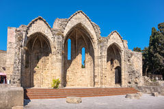 Our Lady of the Burgh church. Rhodes, Greece Stock Image