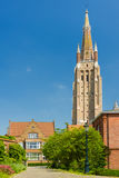 Our Lady Church in Bruges in a summer day Stock Photos