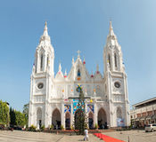 Our Lady of Dolours Basilica church in Thrissur. Thrissur, India - December 30, 2015: Our Lady of Dolours Basilica church during christmas celebration in royalty free stock photos