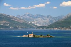 Our Lady of Grace. Montenegro Bay of Kotor Our Lady of Grace monastary mountains life nature people Adriatic sea Royalty Free Stock Photography