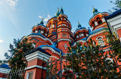 Our Lady of Kazan Church, Irkutsk. At sunrise. Exterior of building. Russian Orthodox church built in 1885-1892 royalty free stock image