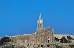 Our Lady Of Lourdes Church, Mgarr, Gozo. This famous historical building is located on Maltese island of Gozo royalty free stock image