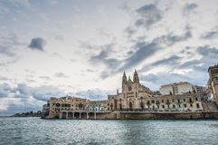 Our Lady of Mount Carmel in Balluta bay, Malta royalty free stock image