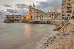 Our Lady of Mount Carmel in Balluta bay, Malta stock photos