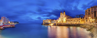 Our Lady of Mount Carmel in Balluta bay, Malta Stock Image