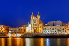 Malta. Our Lady of Mount Carmel Church at night. Royalty Free Stock Photography